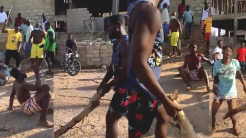 Motorbike Thieves Cry For Mercy As Area Boys Whip Them With Big Sticks