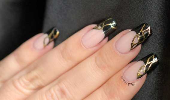 NAIL ART FRENCH NOIRE FOILS OR (5)
