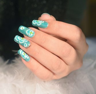 NAIL ART ONE STROKE ROSE BLEUE 5
