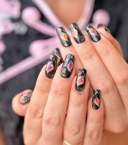 Nail Art One Stroke Arum By Nita Garcia