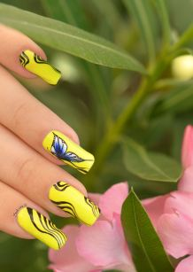 NAIL ART ONE STROKE PAPILLONS FLUO 2