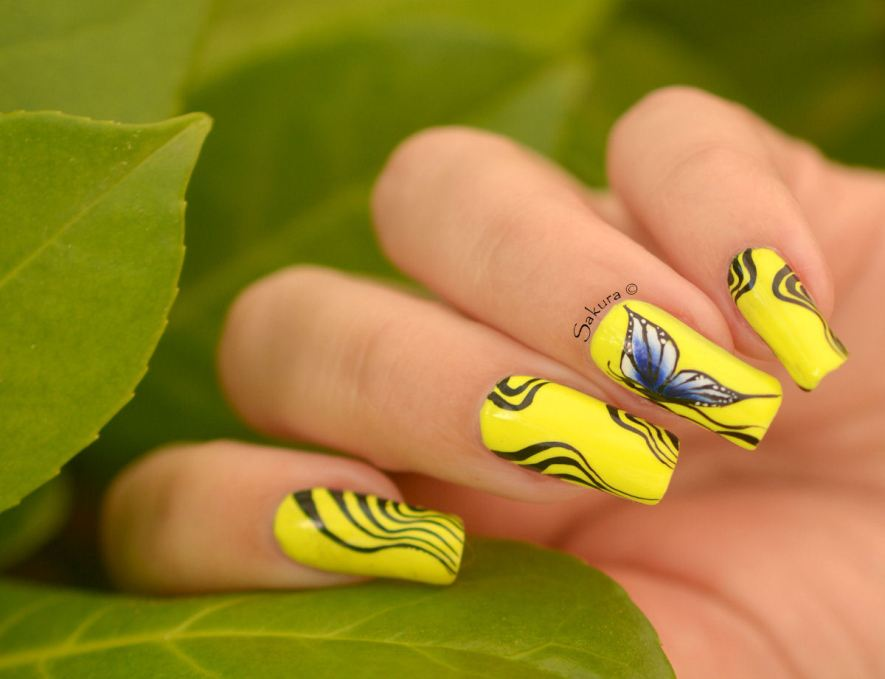 NAIL ART ONE STROKE PAPILLONS FLUO 6