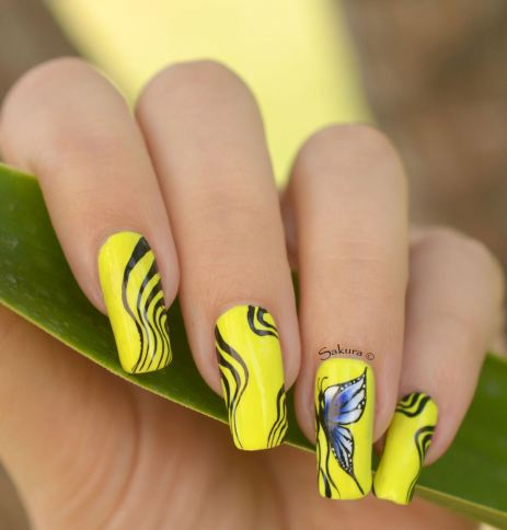 NAIL ART ONE STROKE PAPILLONS FLUO 9