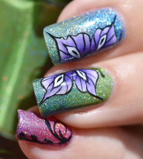 NAIL ART ONE STROKE BUTTERFLY 10