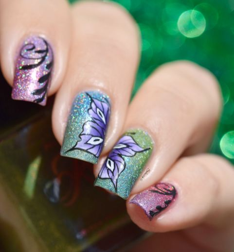NAIL ART ONE STROKE BUTTERFLY 9