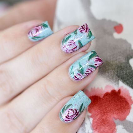 NAIL ART ROSES VINTAGES 10