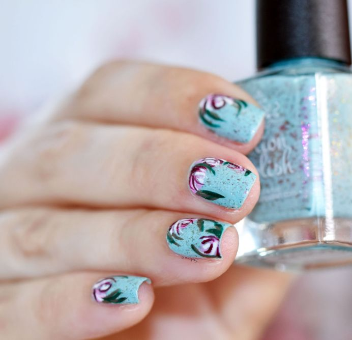 NAIL ART ROSES VINTAGES 8