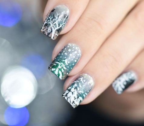 NAIL ART ITS RAINING SNOW 5