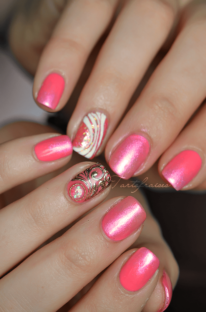 nail art en gel rapide et girly pour pose salon