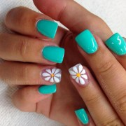 teal spring time nails with white