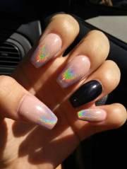 eye-catching holographic nail design