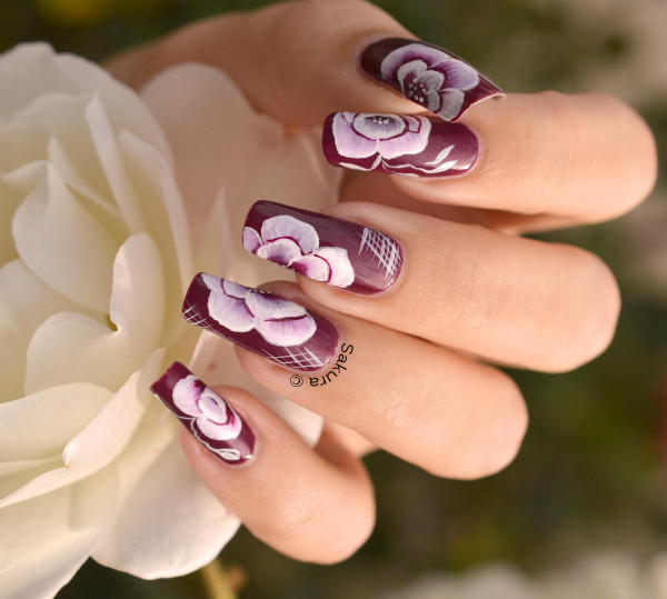 NAIL ART ONE STROKE ROSE