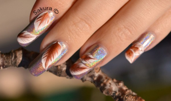 NAIL ART ONE STROKE FEUILLES PLUMES 7