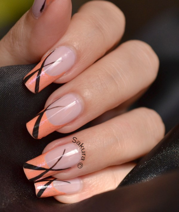 NAIL ART FRENCH ABRICOT LINEAIRE 7