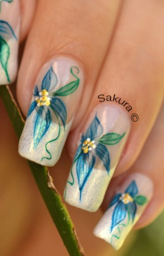 NAIL ART FRENCH AQUARELLE FLEURIE 11