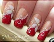 8 cool red and white nail design