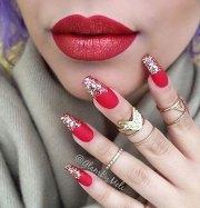 red and silver nails nail