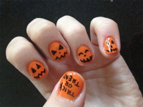 Halloween pumpkin nail art designs