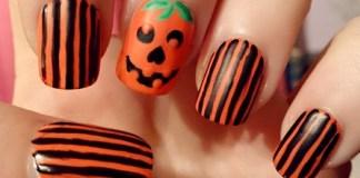Halloween pumpkin nail art