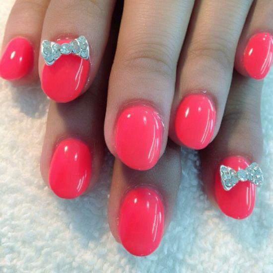 Pink diamond nail art