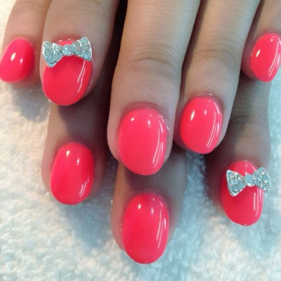 Pink diamond nail art