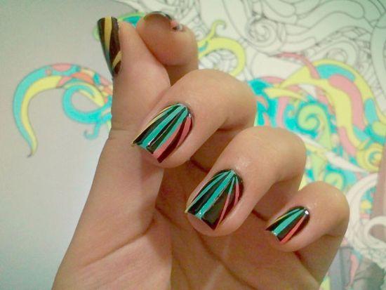 Black and blue striped nail art