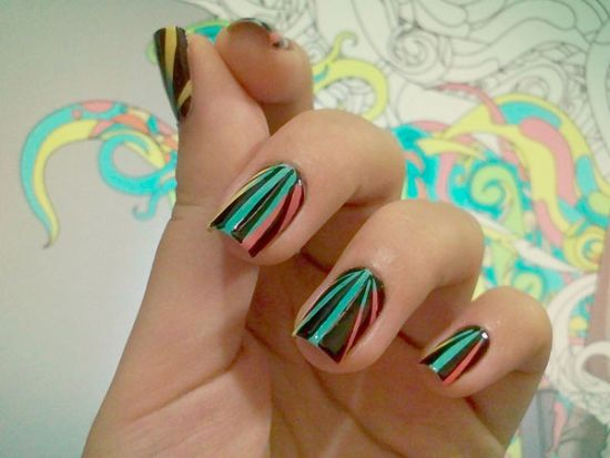 Black and blue striped nail art