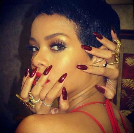 Brown red celebrity nail designs