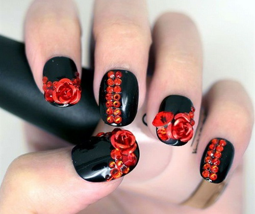 Creative red striped nails