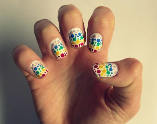 Rainbow polka dot design