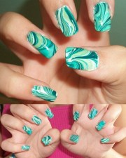 creative water marble nail art