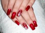 red wedding nail art design