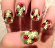 cute ladybug nail art design