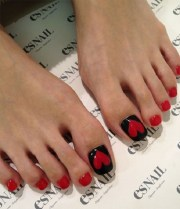 valentines day toenail design