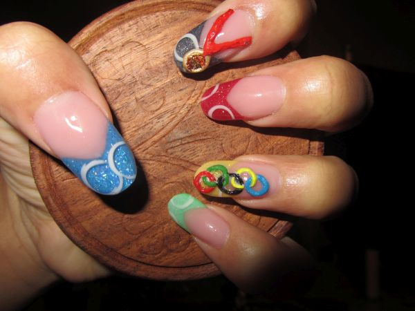 3D Olympics summer nails