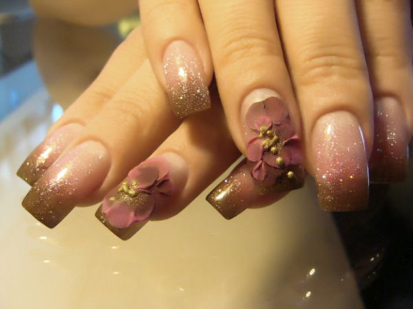 pink and brown 3D summer nails