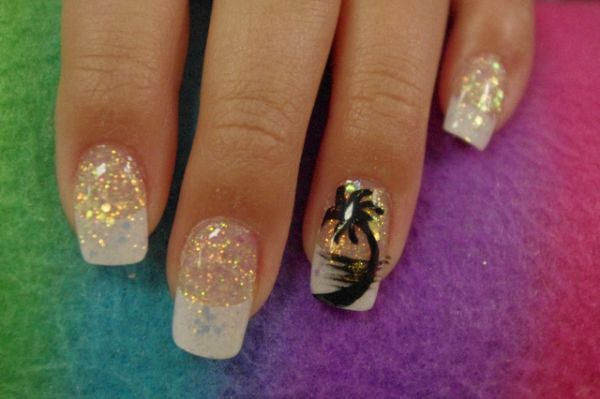 Tropical Nail With Palm Tree