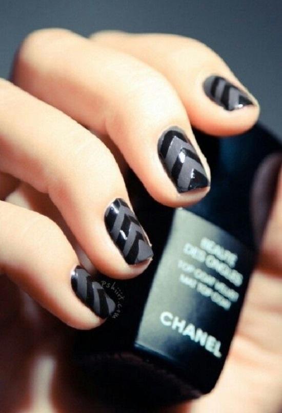 Dark Black Chevron Nails