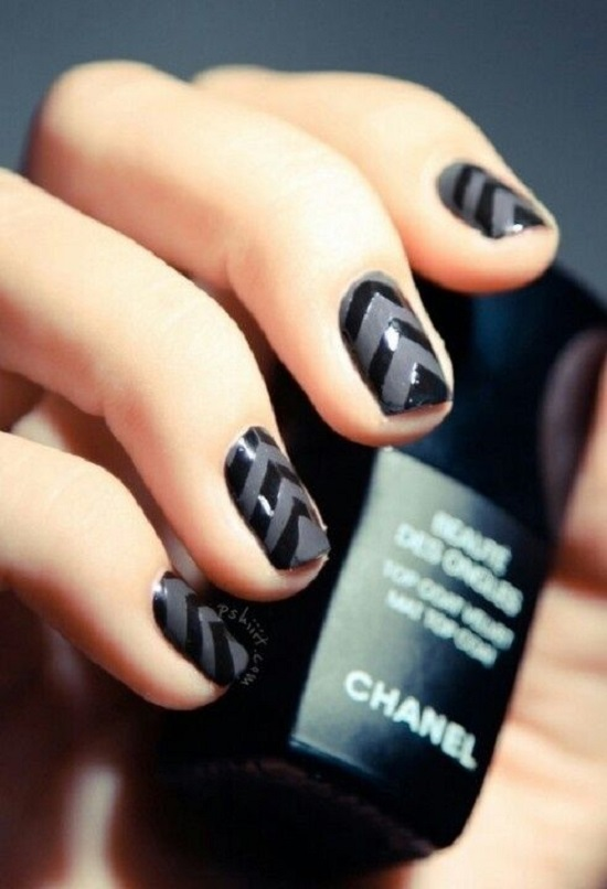 Dark Black Chevron Nails