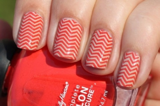 The Red Attack Chevron Nails