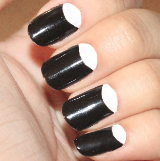 Black and White Half Moon Nails