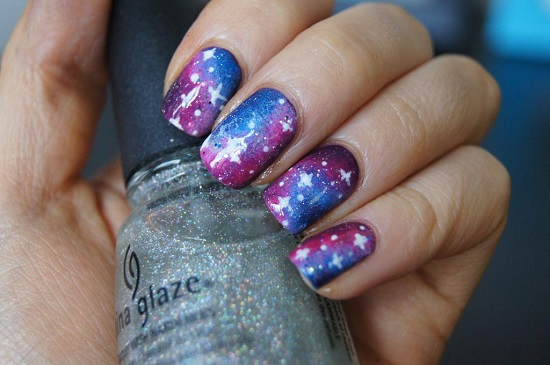 Nail Art Matte Galaxy Glitterfingersss In English