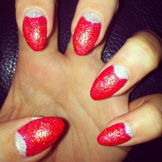 silver half moon nails