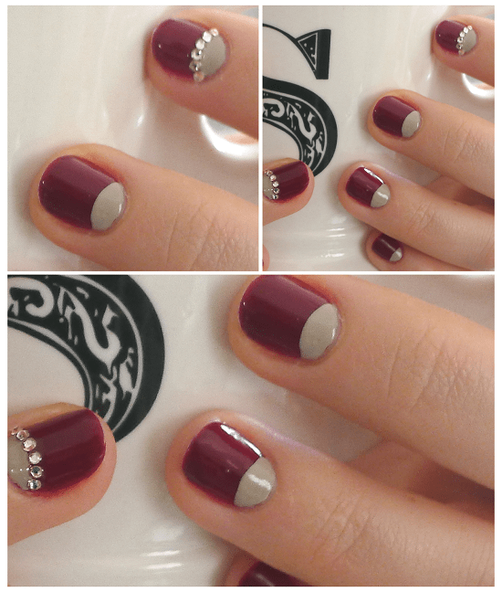 red and stones half moon nails