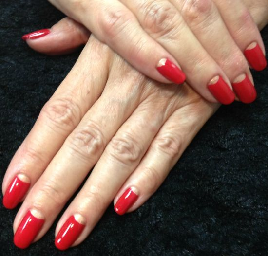 shellac half moon nail manicure