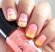 beautiful chevron nail art design