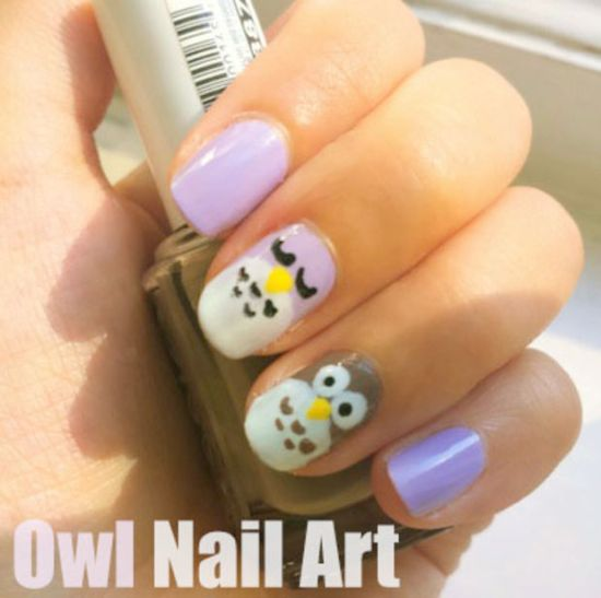 Owl nail with yellow beak nail tutorial