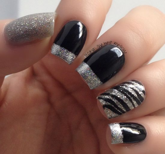 stunning two tone nails design