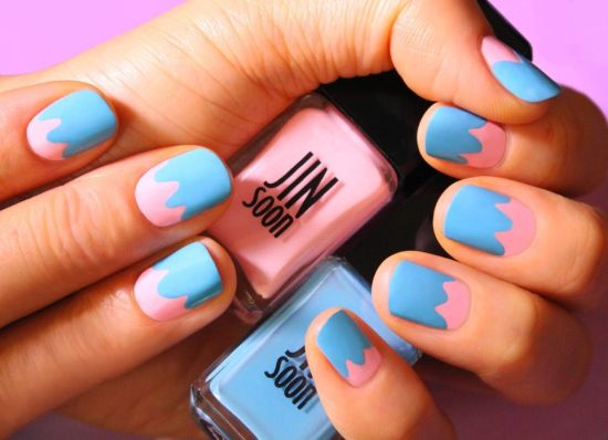pastel and blue Easter nails