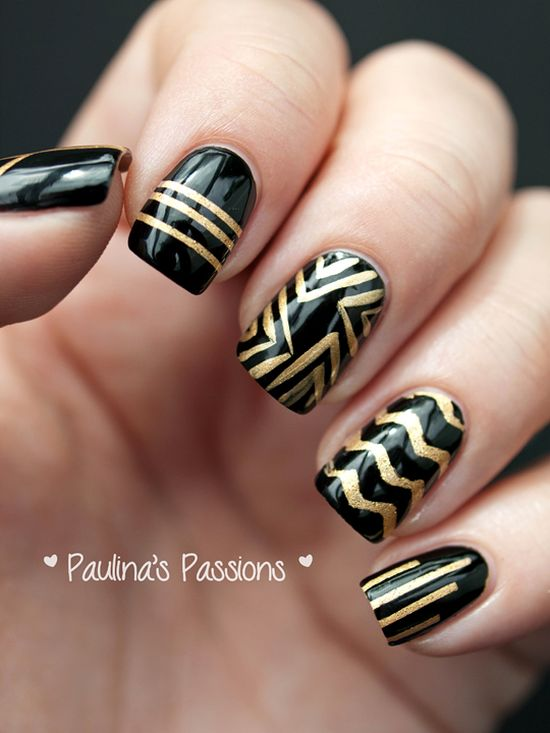 Perfect Black And Gold Striped Nail Design